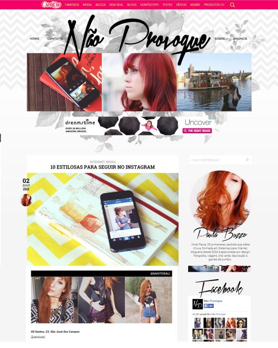 """Indicação de instagram no blog """"Não Provoque""""."""